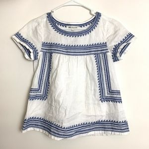 Madewell Blue & White Folktale Linen Peasant Top